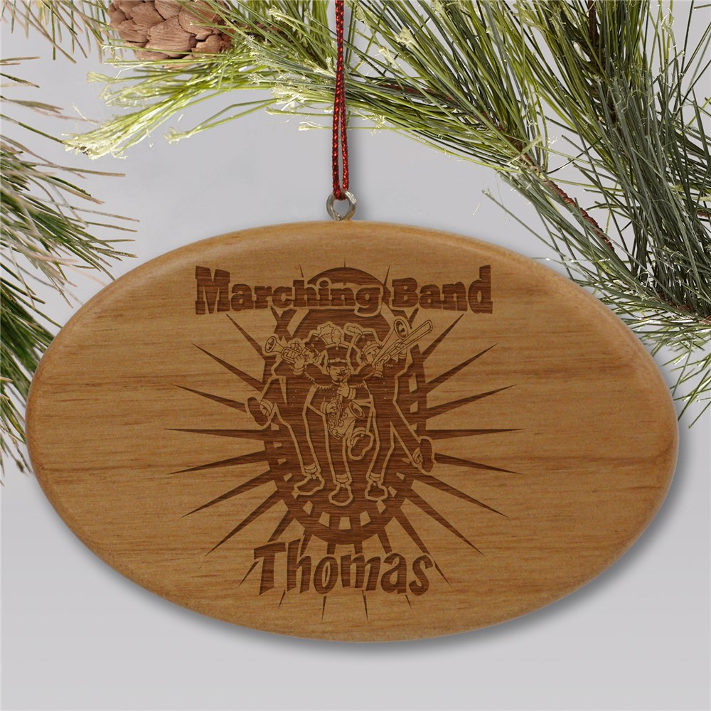 Engraved Marching Band Wooden Oval Ornament | Personalized Marching Band Ornaments