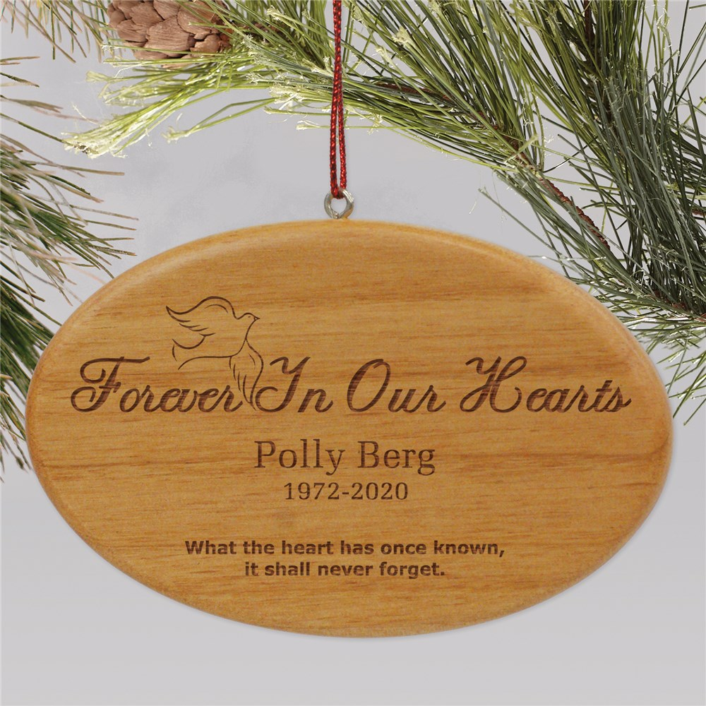 Wooden Forever In Our Hearts Memorial Christmas Ornament | Personalized Memorial Ornaments