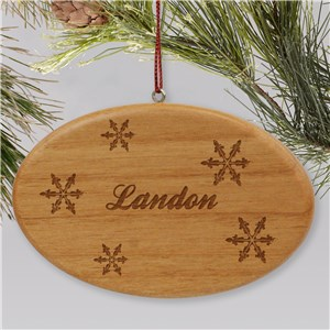 Engraved Snowflakes Wooden Oval Ornament | Personalized Christmas Ornaments