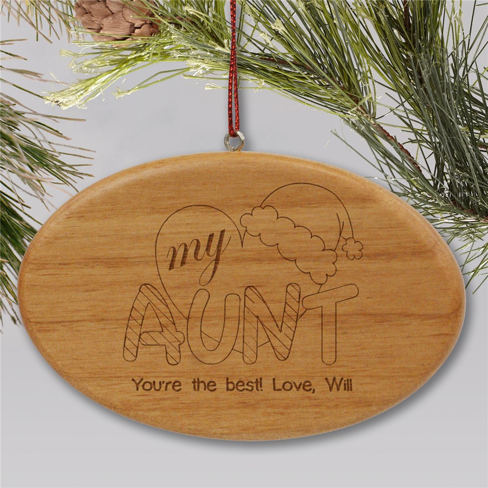 Engraved Heart My Aunt Wood Oval Ornament | Personalized Christmas Ornaments