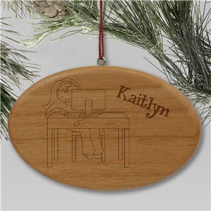 Engraved Computer Wooden Oval Ornament | Personalized Christmas Ornaments For Kids