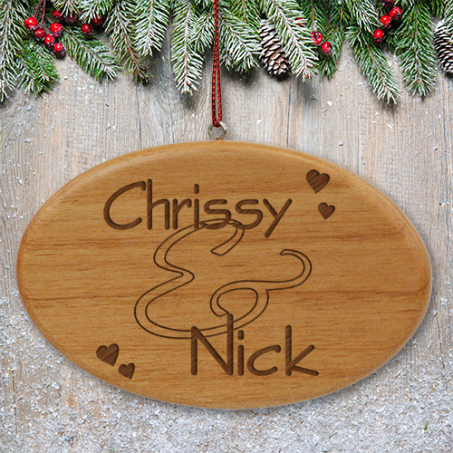 Engraved Couples Wooden Oval Ornament | Personalized Couples Ornament
