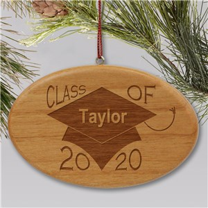 Engraved Class of Wooden Oval Ornament | Graduation Keepsakes