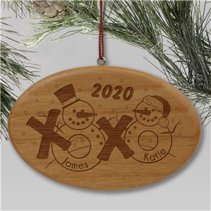 Engraved Snowman Couple Wooden Ornament | Personalized Couples Ornament