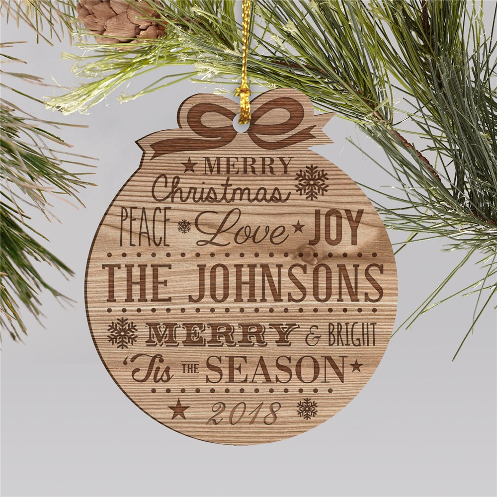 Engraved Merry Christmas Wood Ornament W80460
