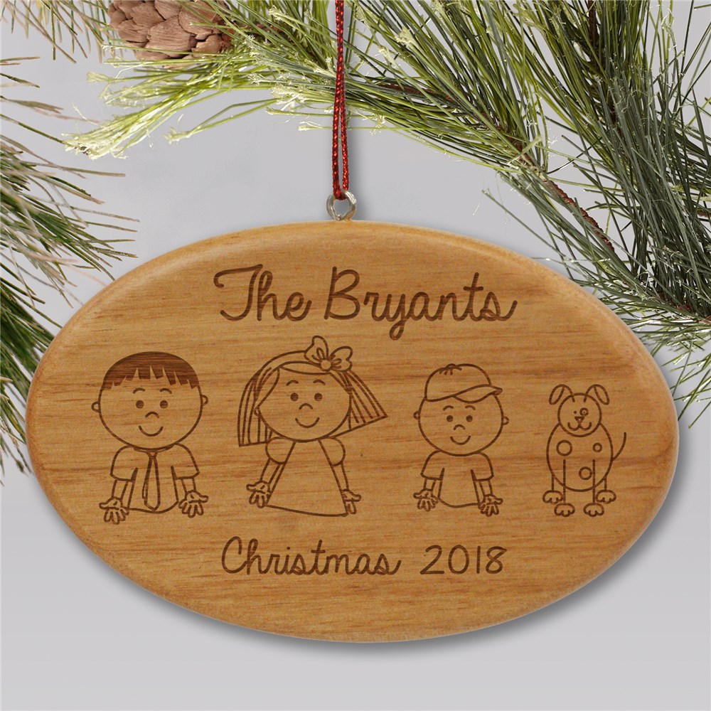Engraved Stick Figure Wooden Ornament | Personalized Family Christmas Ornaments