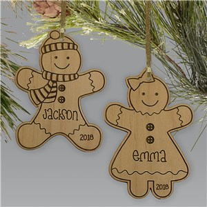 Personalized Gingerbread Wooden Ornament | Personalized Christmas Ornaments For Kids