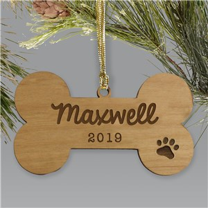 Personalized Dog Bone Wooden Ornament | Personalized Pet Ornaments