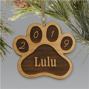 Personalized Dog Paw Wooden Ornament | Personalized Pet Ornaments