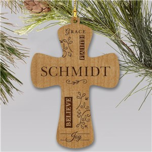 Engraved Cross Wooden Ornament | Personalized Ornament
