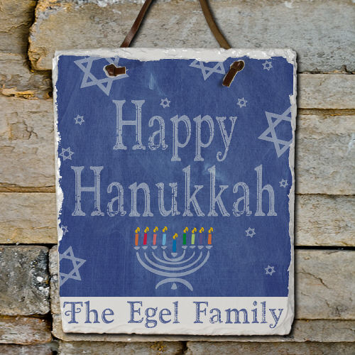 Happy Hanukkah Slate Plaque