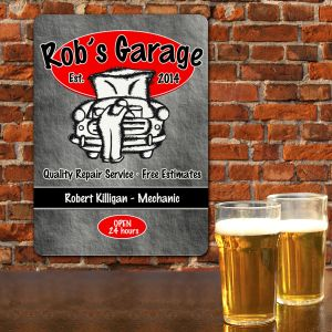 Custom Printed Garage Repair Wall Sign | Personalized Gifts for Him