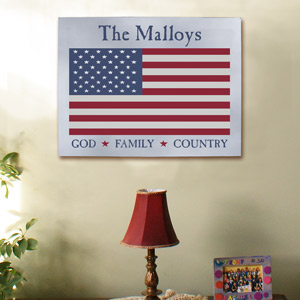 God Family Country American Flag Wall Canvas