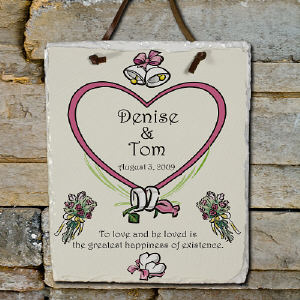Greatest Happiness Personalized Wedding Slate Plaque