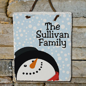 Snowman Plaque with Family Name