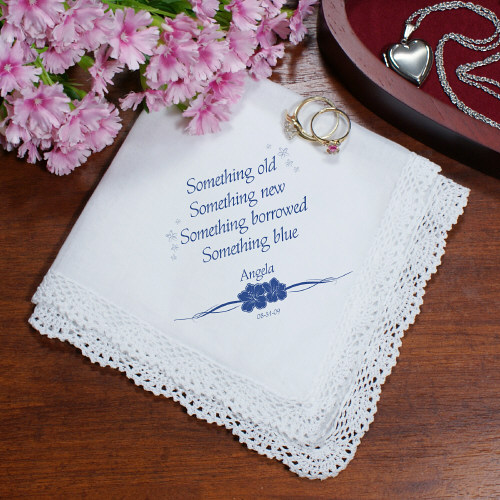 Something Blue Personalized Wedding Ladies Handkerchief