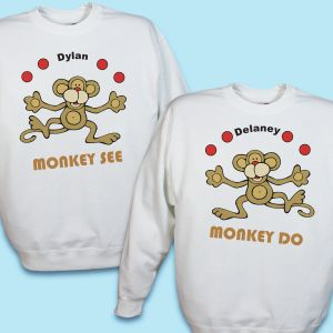 Just Monkey Around Twin Personalized Youth Sweatshirt