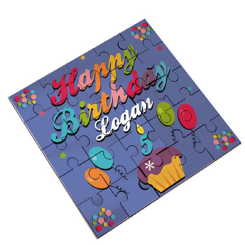 Happy Birthday Personalized Square Shaped Wood Jig Saw Puzzle
