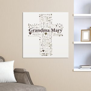 Memorial Cross Word-Art Canvas