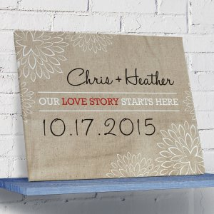 Our Love Story Starts Here Wall Canvas