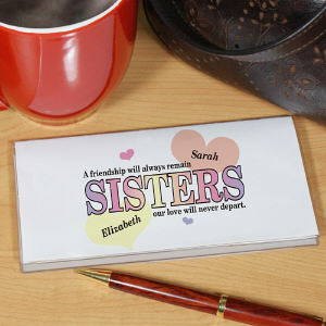 Sisters Friendship Personalized Checkbook Cover