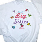 Butterfly and Flowers Big Sister Personalized Youth Sweatshirt