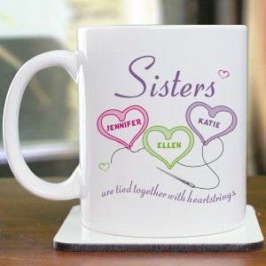Sisters Heartstrings Personalized Coffee Mug