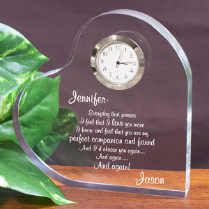 I'd Choose You Again Keepsake Heart Clock