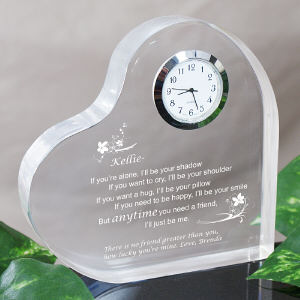 Friendship Keepsake Heart Clock - Anytime you need a friend