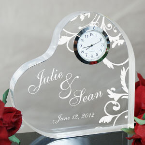 Engraved Couples Heart Clock Keepsake