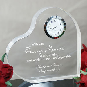 Engraved With You Heart Clock