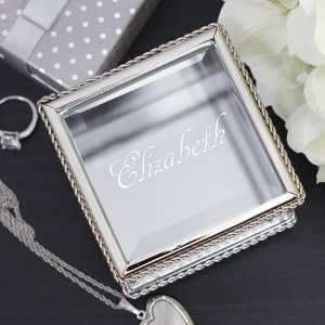 Glass Jewelry Box Engraved with Name