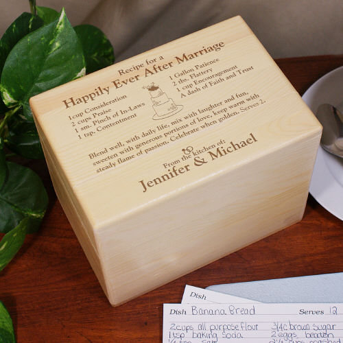 Engraved Happily Ever After Recipe Box | Personalized Wedding Gifts