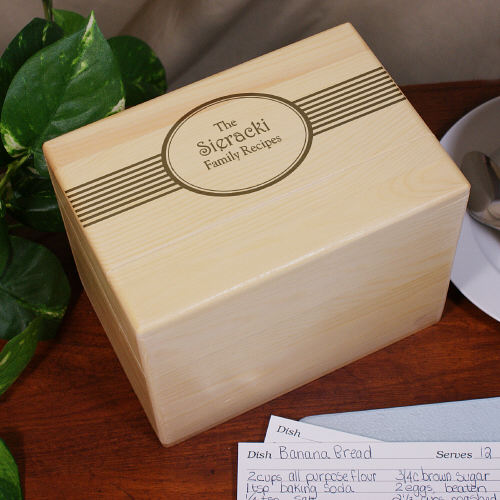Engraved Family Recipes Personalized Recipe Box | Personalized Recipe Box