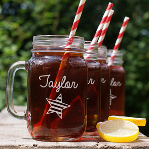Engraved Star And Stripes Mason Jar Set