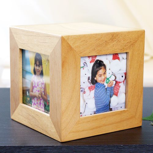 Engraved World's Coolest Wood Photo Cube | Personalized Aunt Gifts