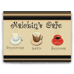 Personalized Cafe Kitchen Wall Canvas