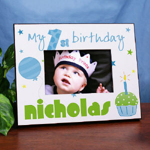 Baby Boy's 1st Birthday Printed Frame