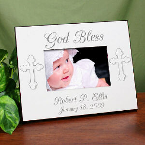 God Bless... Personalized Christening Printed Frame