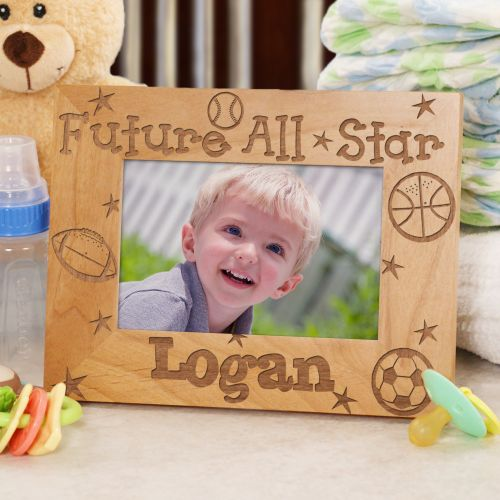 New Baby Future All-Star Personalized Wood Picture Frame | Baby Picture Frames