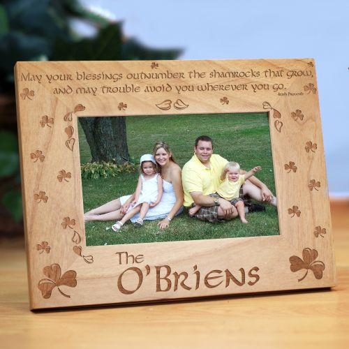 Shamrock Blessings Personalized Wood Picture Frame | Personalized Wood Picture Frames