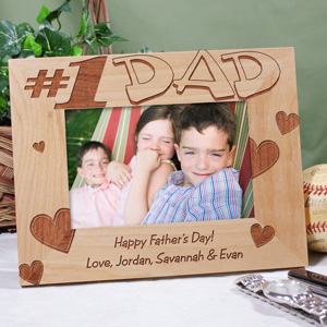 Number One Dad Wood Picture Frame | Daddy Picture Frames
