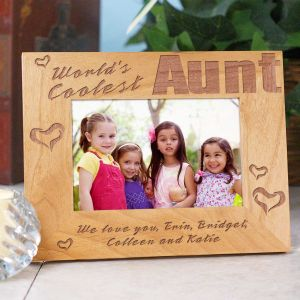 World's Coolest Personalized Aunt Wood Picture Frame | Personalized Wood Picture Frames