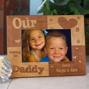 Our Hearts Belong To... Engraved Frame | Personalized Wood Picture Frames