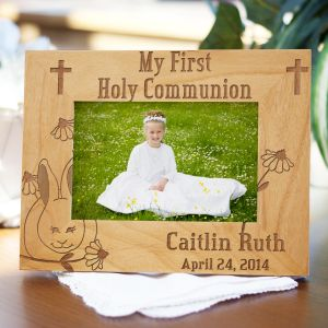 Engraved First Communion Bunny Frame