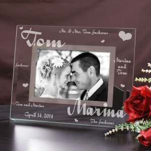 Personalized Mr. and Mrs. Wedding Glass Picture Frame