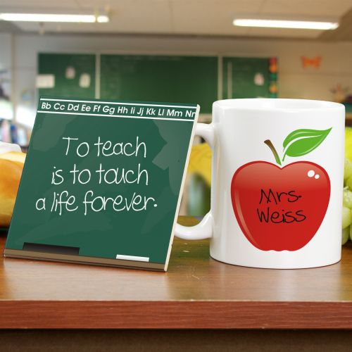 Chalkboard Teacher Personalized Mug and Coaster Set