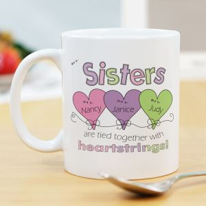 Heart Strings Personalized Sisters Coffee Mug | Sister Gifts | Customizable Coffee Mugs
