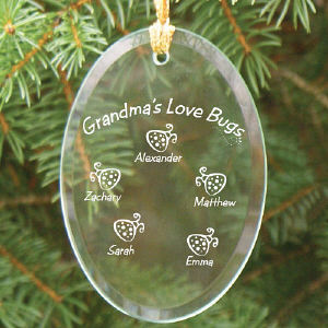 Personalized Love Bugs Glass Oval Ornament
