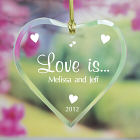 Love Is... Personalized Glass Heart Ornament
